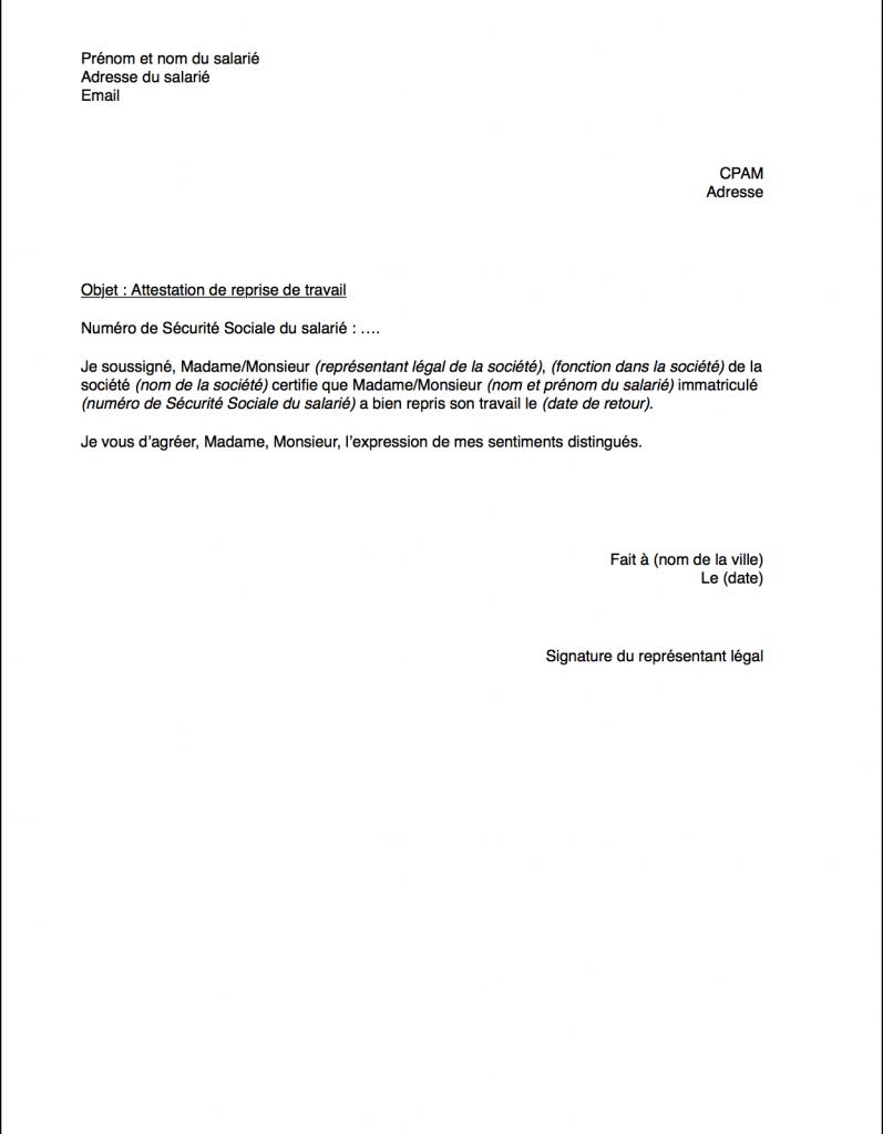 lettre de reprise de travail