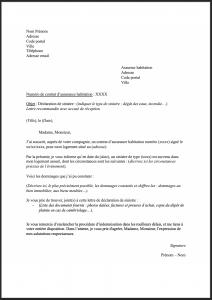 lettre type declaration sinistre habitation