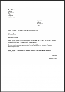 modele demande attestation assurance habitation assureur 1