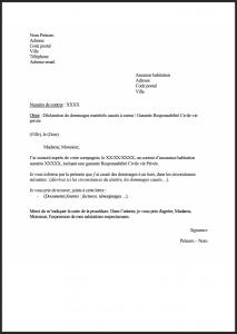 modele lettre declaration dommages materiels responsable