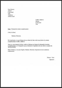 modele lettre demande retraite agirc arrco 1