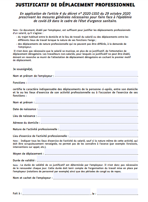 justificatif de deplacement professionnel