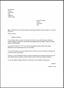modele lettre resiliation assurance mrh hamon 1