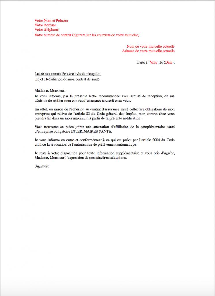 lettre resiliation mutuelle interimaires