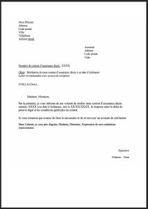 modele lettre resiliation assurance deces 1