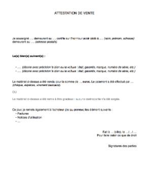 attestation de vente lettre de cession