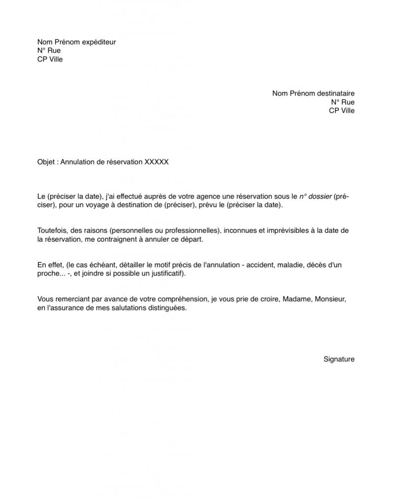 lettre annulation voyage sans assurance