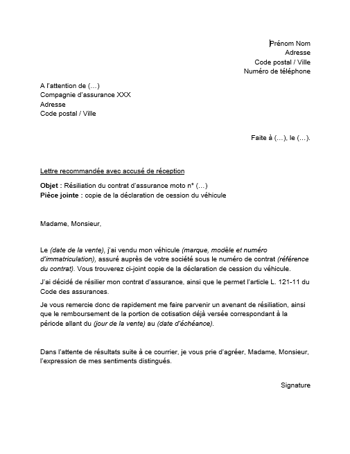 lettre de resiliation assurance moto