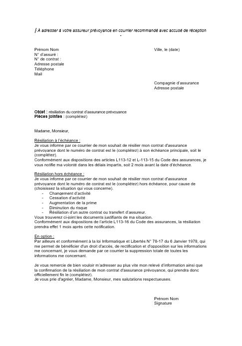 lettre de resiliation contrat prevoyance