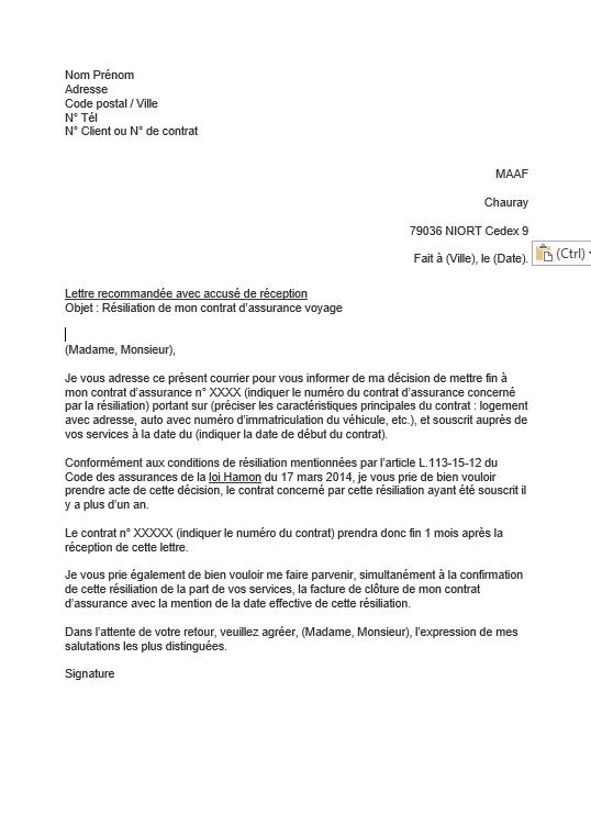 lettre resiliation assurance voyage maaf