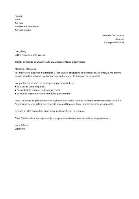 lettre ddemande de dispense mutuelle entreprise