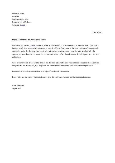 lettre demande de versement sante