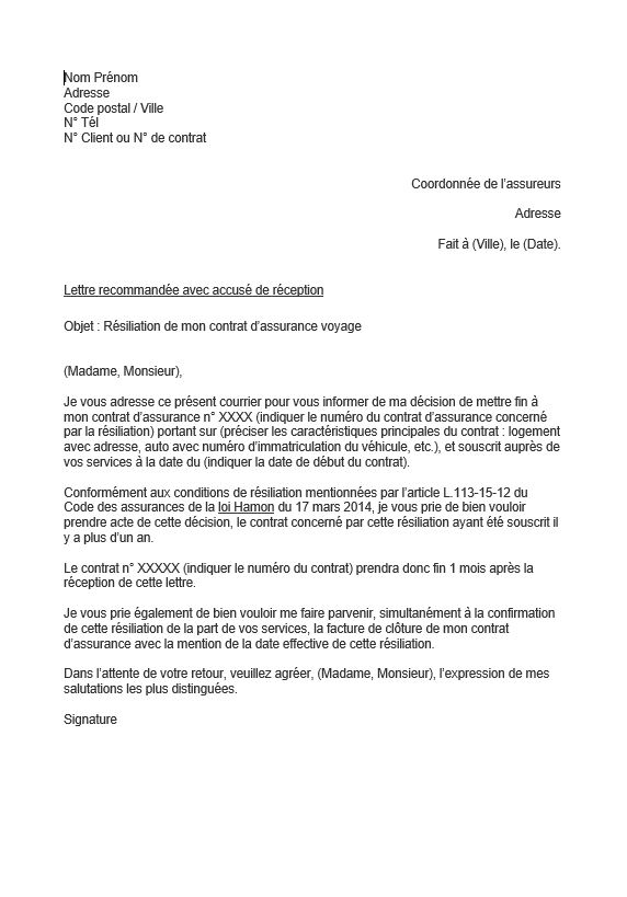 lettre resiliation assurance voyage